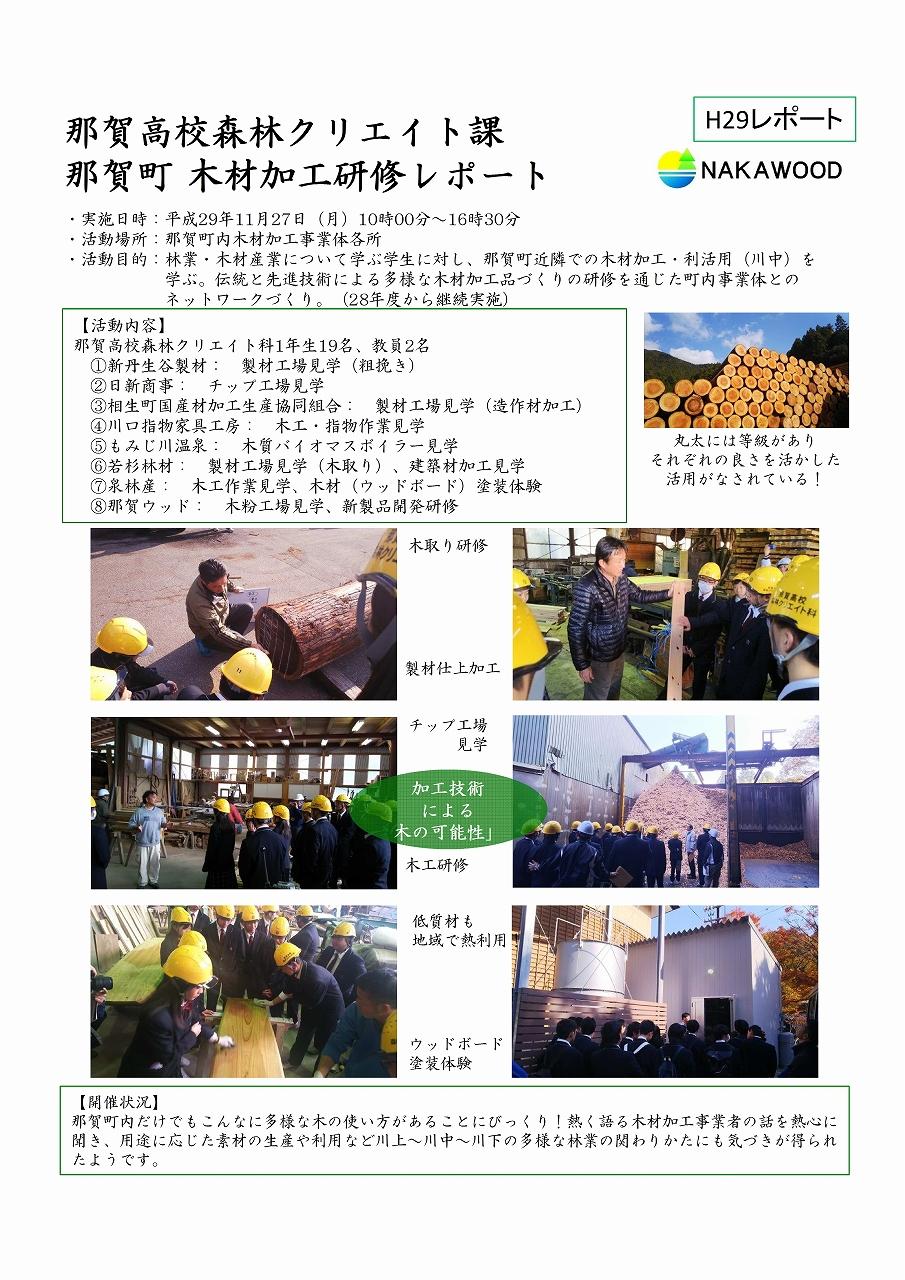 那賀高校森林クリエイト課 那賀町木材加工研修レポート2017